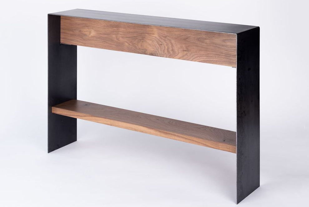 Minimal Contemporary Bent Steel Console Table Steel + Plank Athens GA