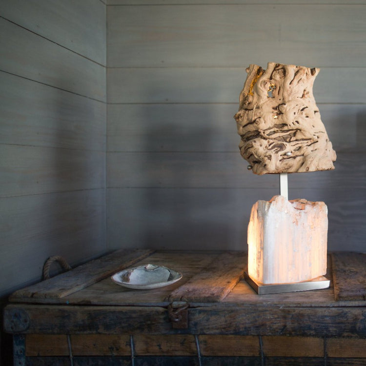 Mineral Forest Stalagmite Lamp Steel+Plank