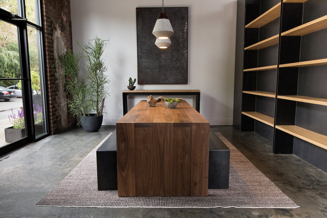 Steel+plank custom furniture athens ga Waterfall Dining Table