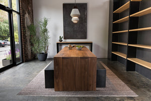 Steel+plank Waterfall Dining Table