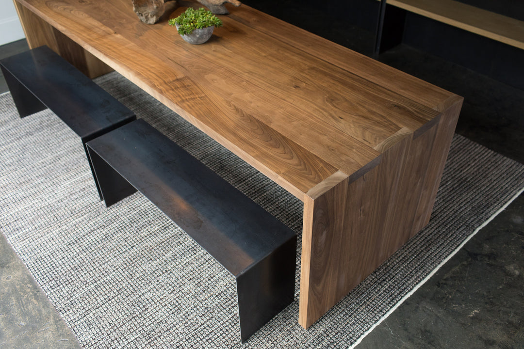Steel + Plank Minimal Dining Room Waterfall Table