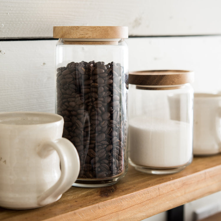 Simple Glass Storage Containers with Wood Lid