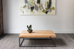 heart pine mill plank and steel coffee table