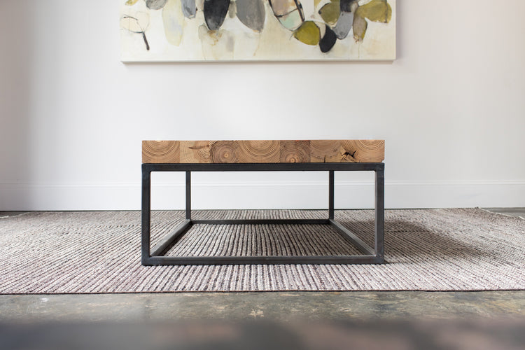 Steel+Plank custom furniture heart pine mill plank and steel coffee table