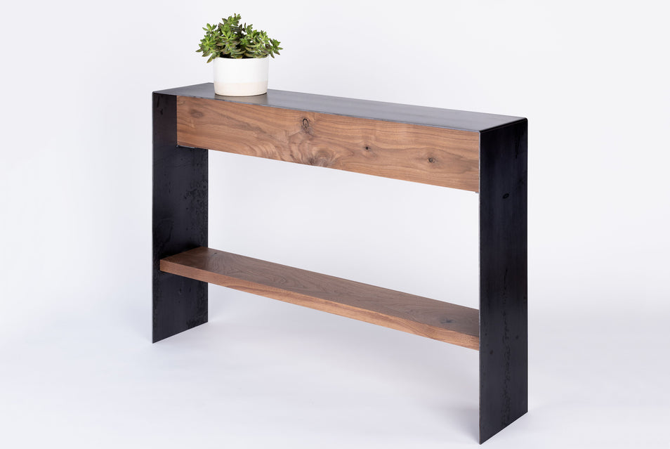 Bent steel console table with shelf Steel + Plank Athens GA