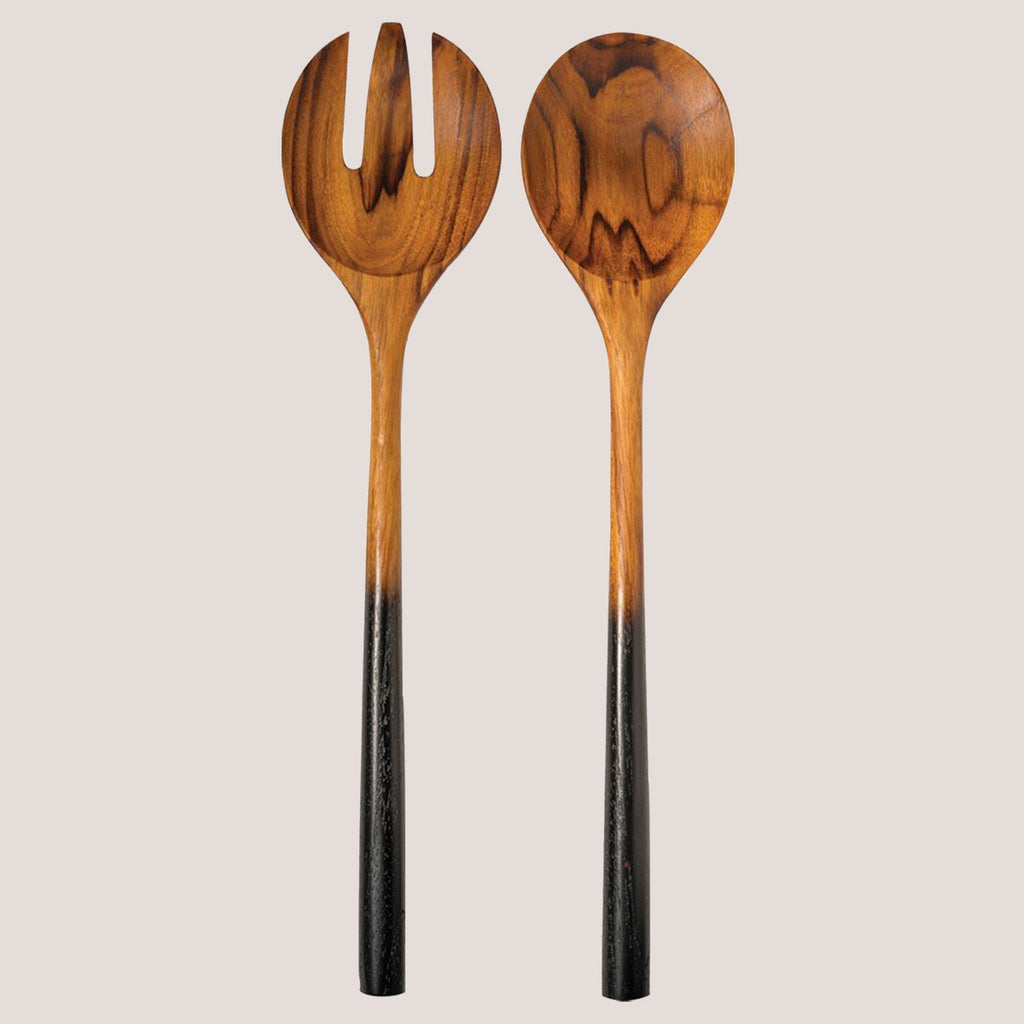 Black Ombre Teak Wood Serving Spoon Set
