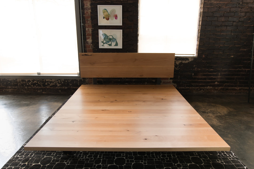 Solid Plank platform bed steel+plank custom built furniture
