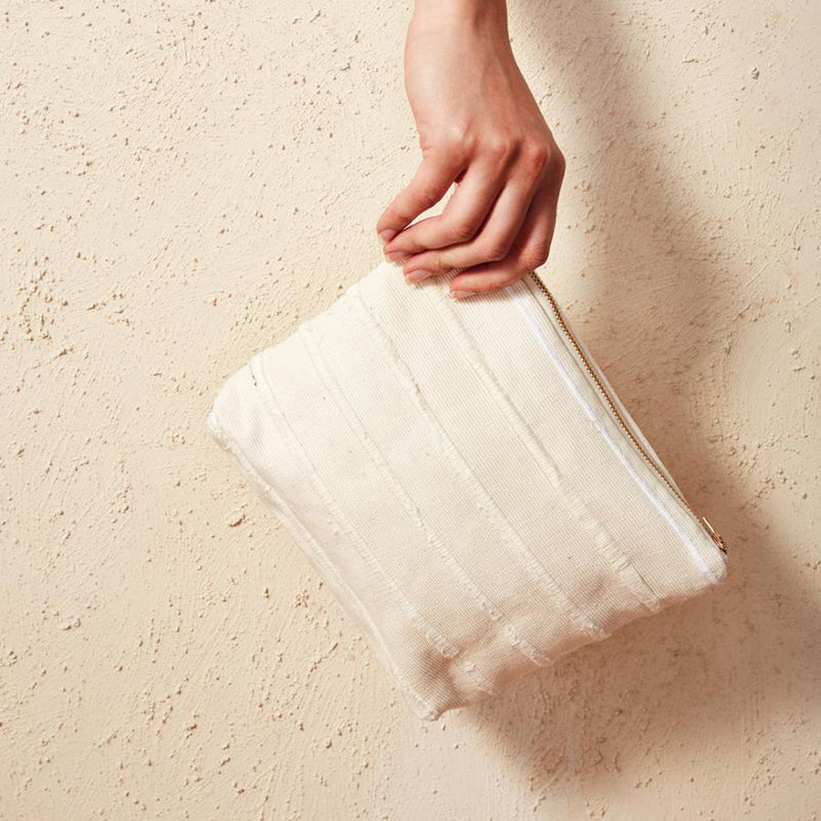 Cream Recycled Stripe Pouch