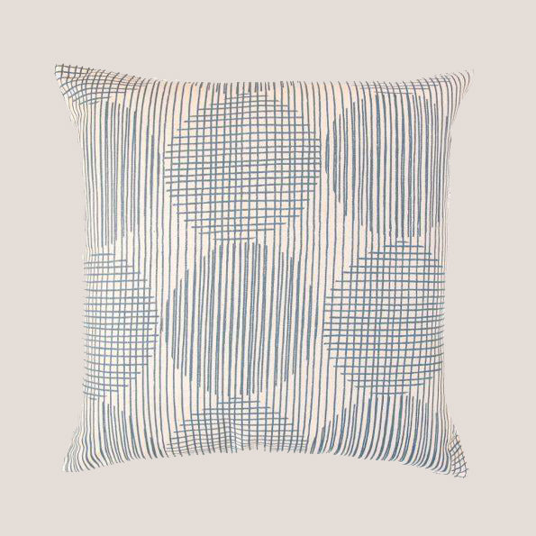 Block Circle Pillow in Steel