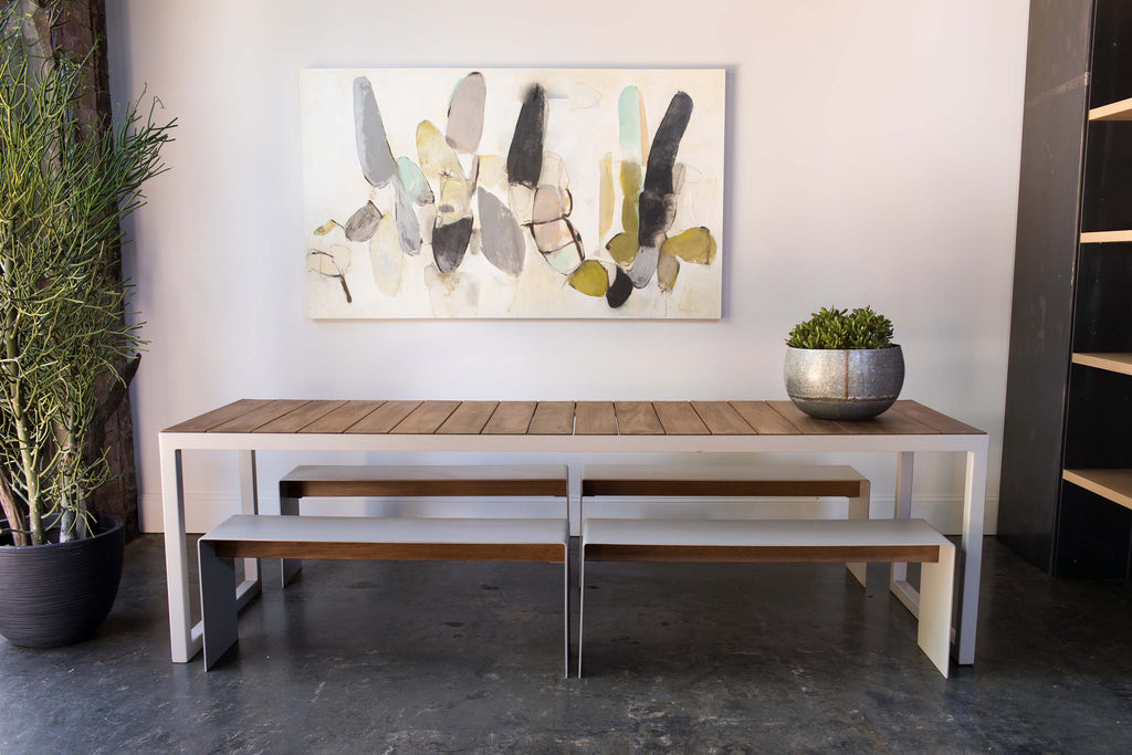 outdoor table steel+plank custom furniture athens ga