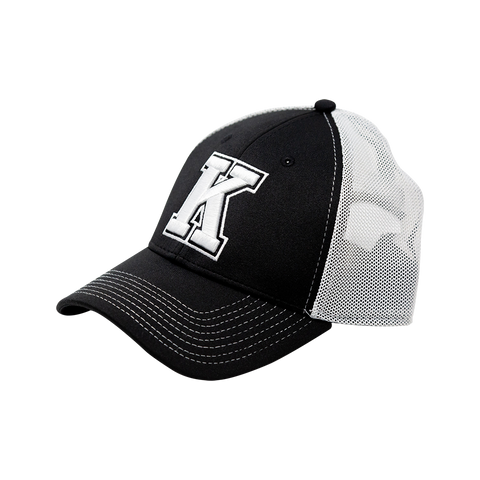 Black Cap with White K Mesh Back