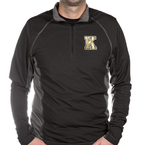 Two-Toned Long Sleeve Quarter Zip with Gold K