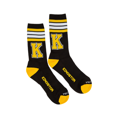 Black Socks with Yellow K