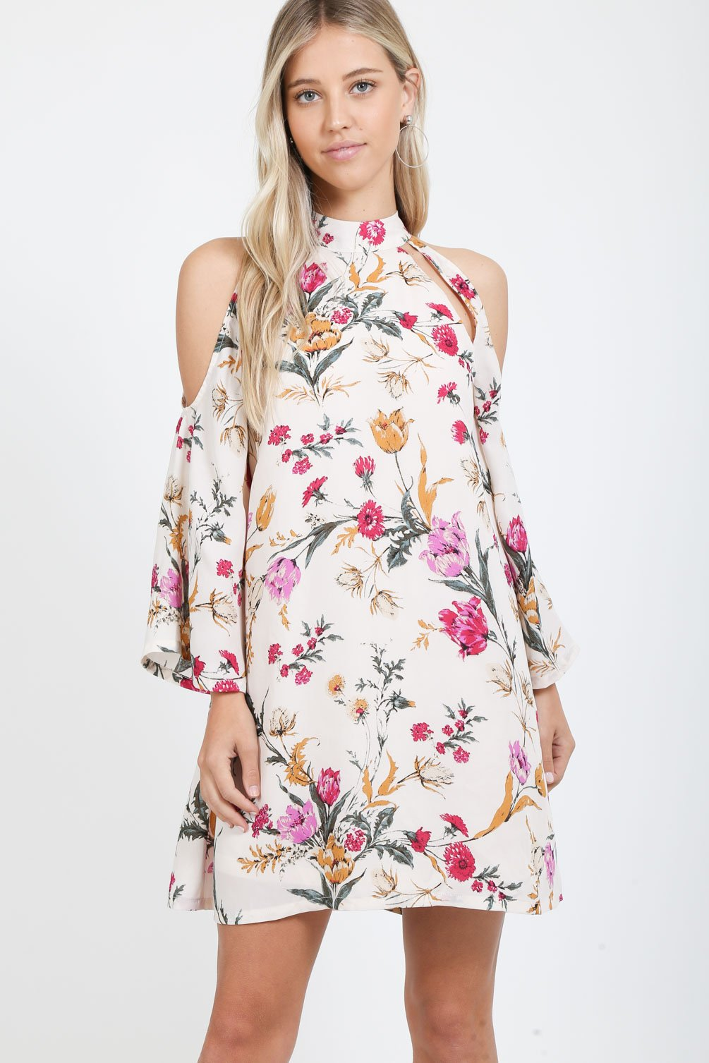 Floral High Neck Dress in Ivory
