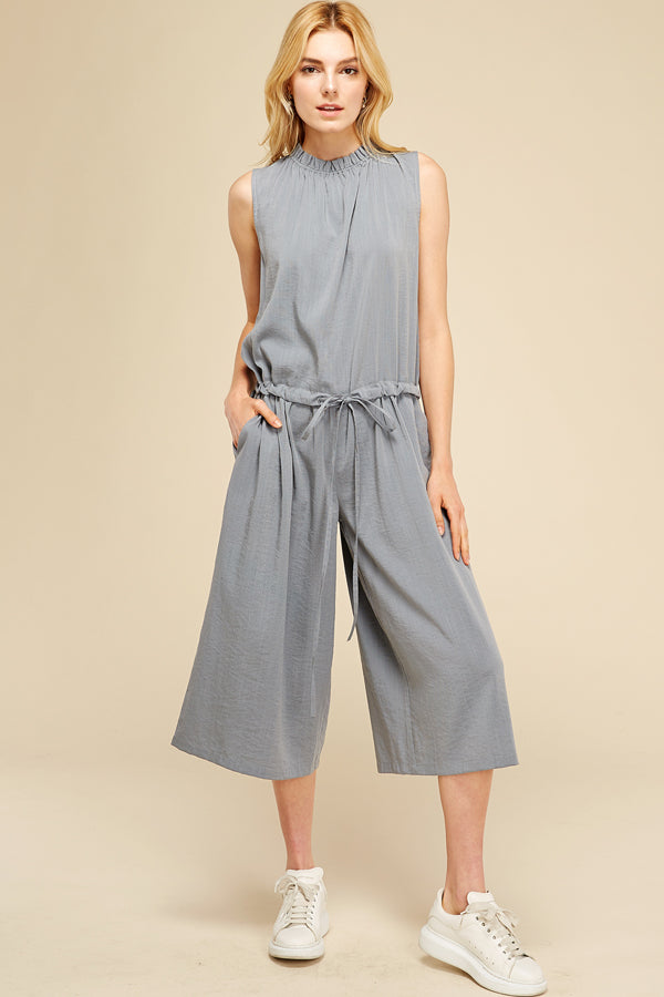 Cropped, Wide Leg, Sleeveless Jumpsuit