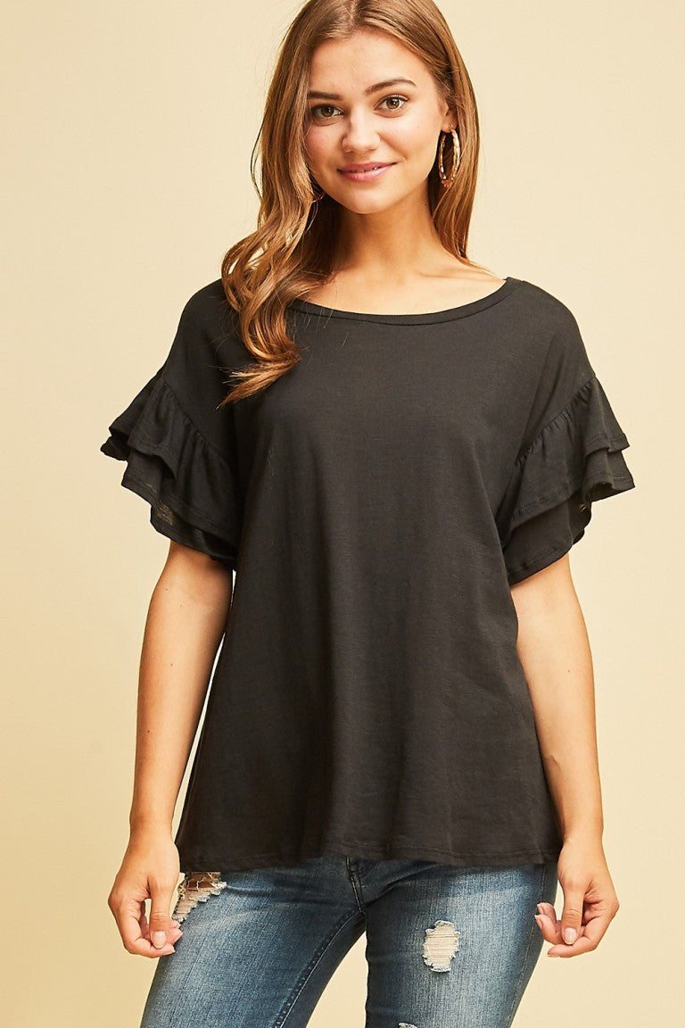 Black Knit Top with Ruffle detail