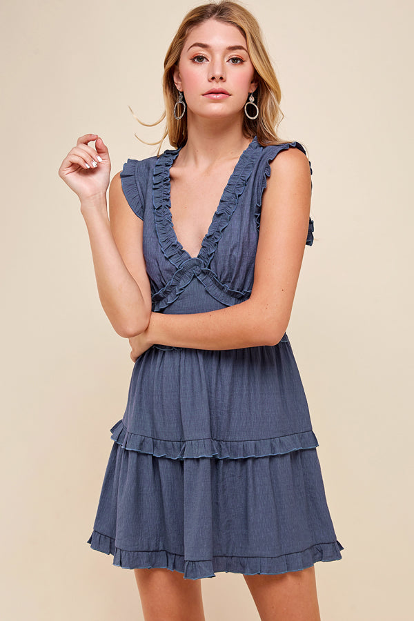 Pinch, Tiered Front, Ruffle Trim Dress