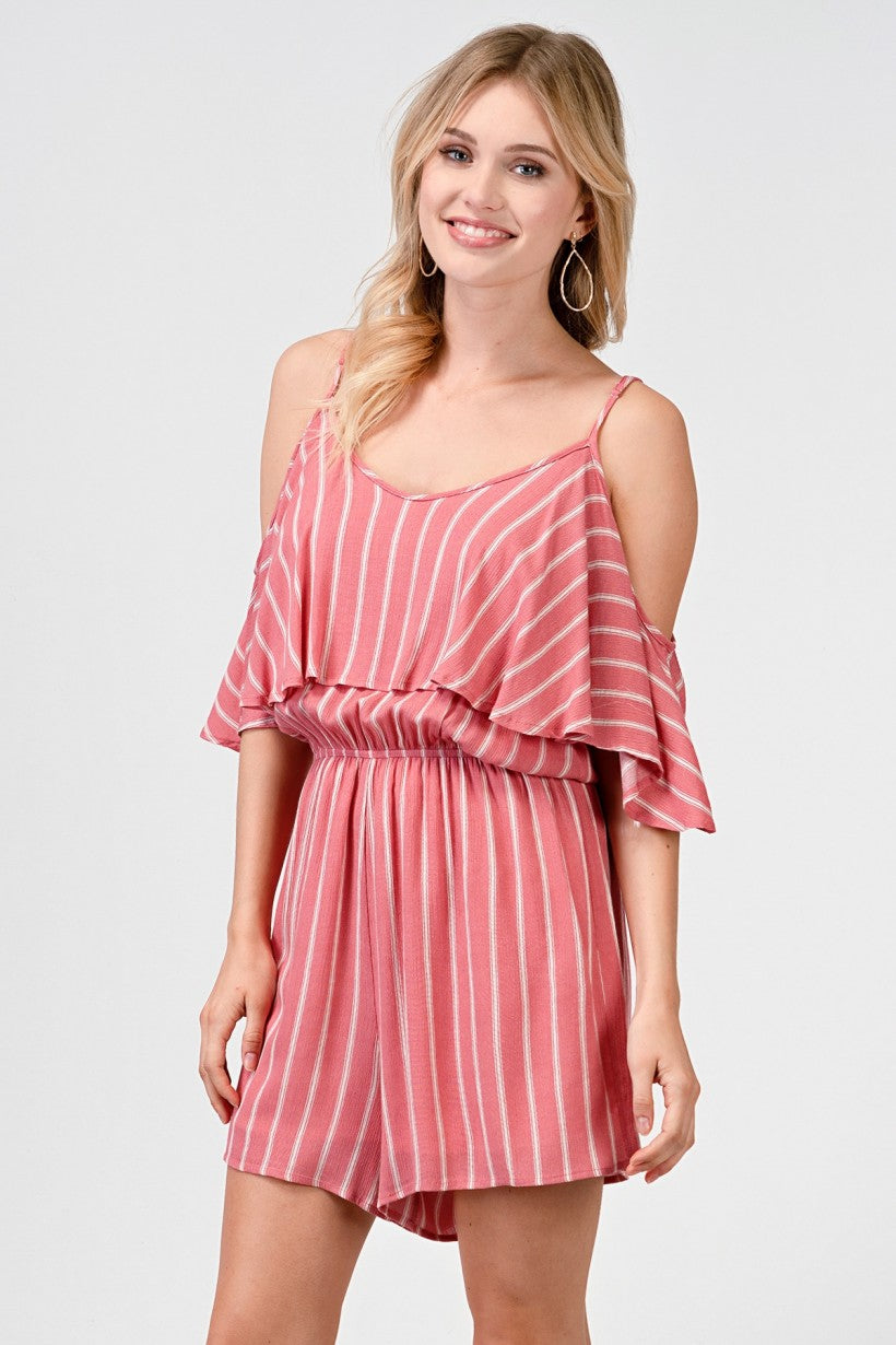 Coral and White striped Romper