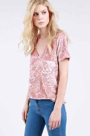 POL - Crushed Velvet Short Tee with Deep V-Neck, Dusty Pink