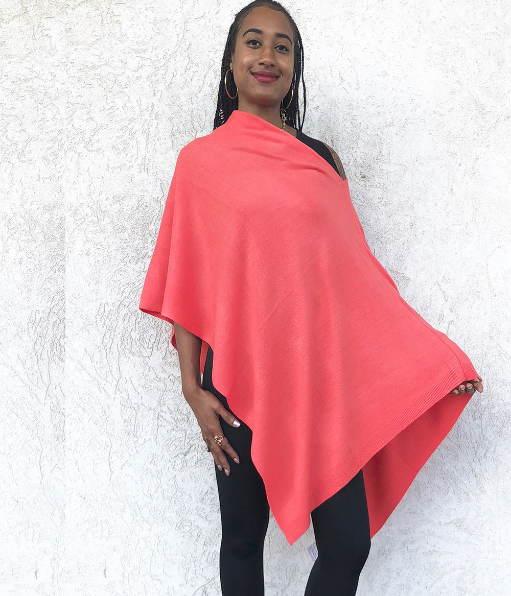 Off Shoulder Cashmere Feel Poncho