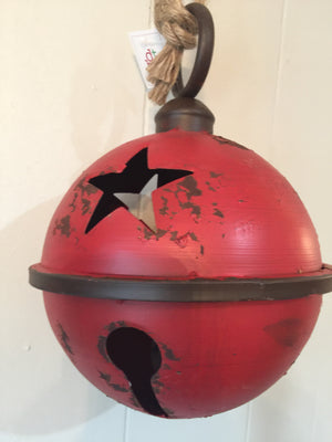 Antique Red Jingle Bell 9""