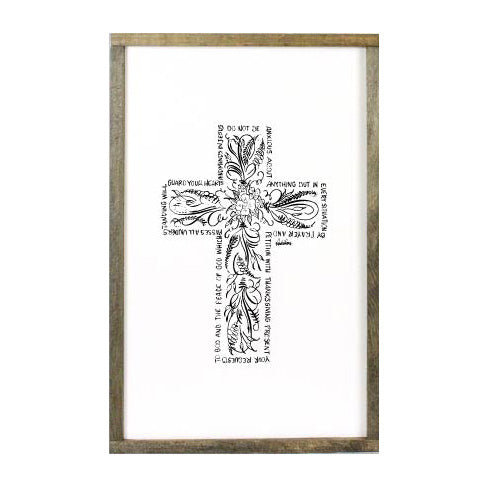 Framed Flourish Cross, 16x24