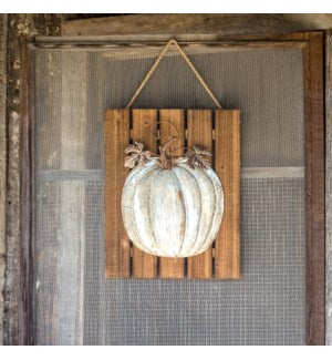 Embossed Metal Pumpkin on Wooden Door Plaque