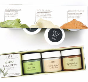 Our favorite fresh face masks have come together in the ultimate face-rejuvenation travel trio! This kit comes ready to hydrate with Guac Star Avocado Mask, boost radiance with Splendid Dirt Organic Pumpkin Mud Mask, and exfoliate to smooth perfection with Pudding Apeel Tapioca Glycolic Mask.