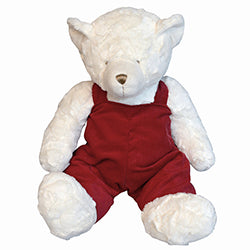 Luxurious texture gives an exciting dimension to a nursery classic. Removable overalls are easily monogrammed for personalization.  18 Inches Tall  90 ℅ Polyester ℅ 10 Cotton
