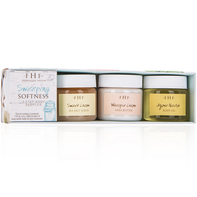 This Sweeping Softness Kit is packed with our best-selling, 3-step body product combination including Sweet Cream Sea Salt Scrub (an O-List favorite), Whoopie! Cream Shea Butter Cream (a Redbook MVP Beauty Award winner), and Agave Nectar Body Oil. Dry skin will be a thing of the past.  90-96% NATURAL | VEGAN | NOT GLUTEN-FREE* *contains barley extract
