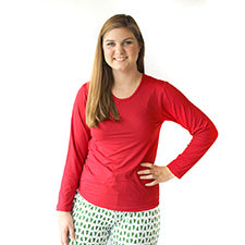 Long Sleeve Sleep Shirt, Red