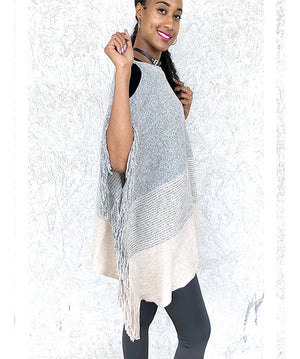 Metallic Multicolor Weaved Cold Shoulder Poncho