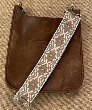 This beautiful bag strap has a cream background with olive green and terracota tapestry pattern.