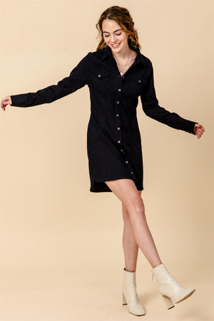 Button Front Corduroy Dress