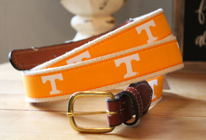 Collegiate Licensed Ribbon Webbed Leather Belts