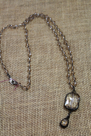 Double Drop Crystal Necklace, 44""