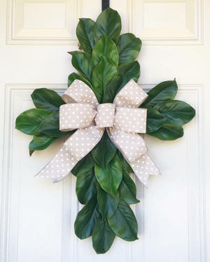 Magnolia Cross Door Hanger with Bulap Bow