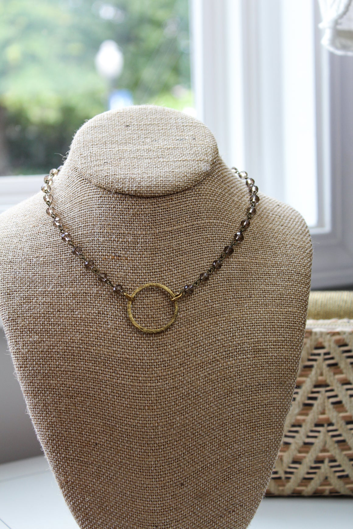 Crystal Beaded Necklace with Small Circle