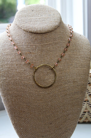 Crystal Beaded Necklace with Large Circle, 18""