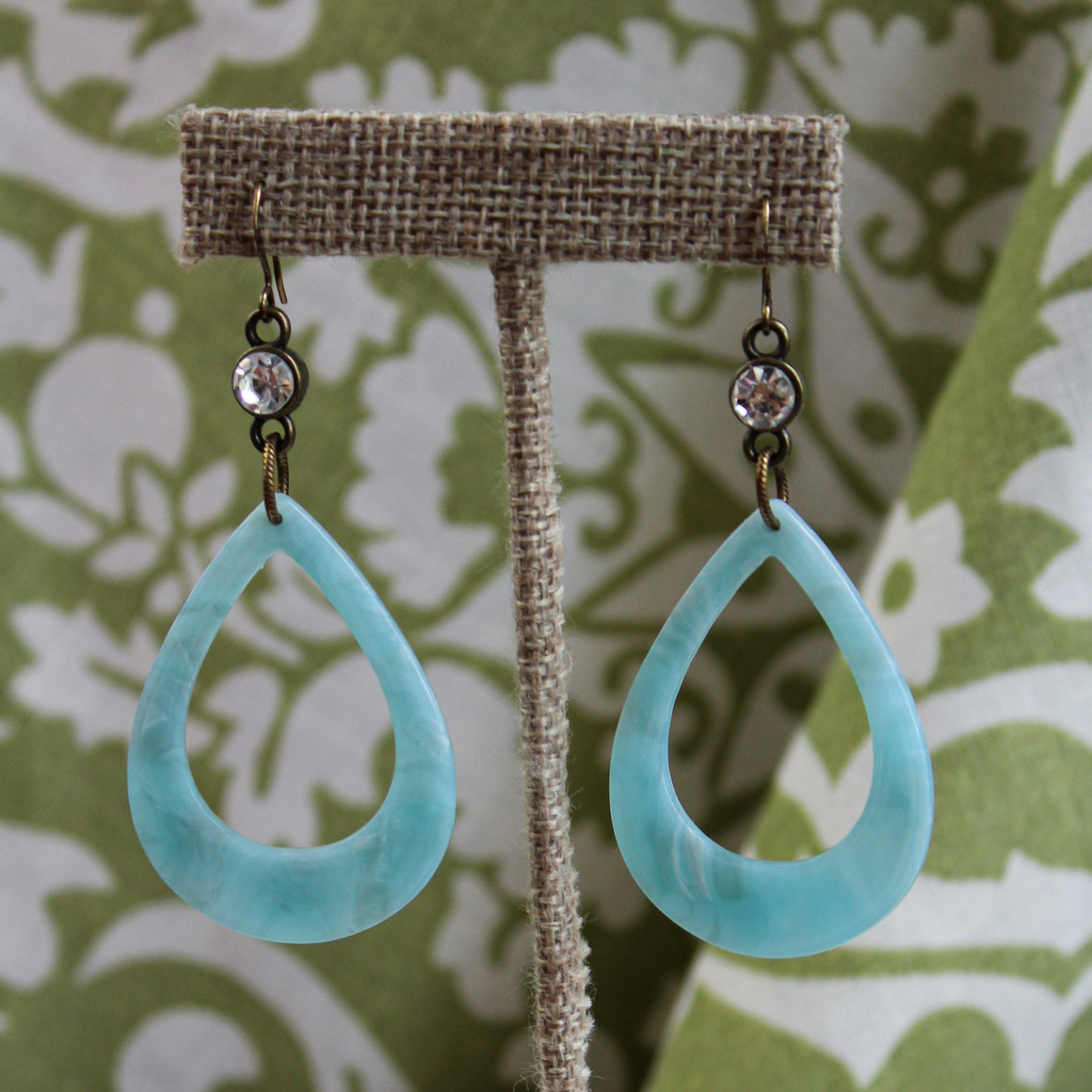Acrylic and Crystal Teardrop Earrings