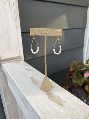 Gold and Freshwater Pearl teardrop earrings WH220