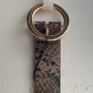 Snakeskin Belt with Round Gold Buckle (5076)