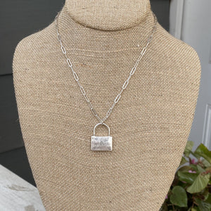 Silver Necklace with large locket charm WH232