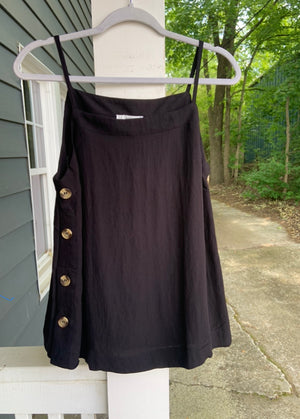 Side Button Spaghetti Strap Top in Black