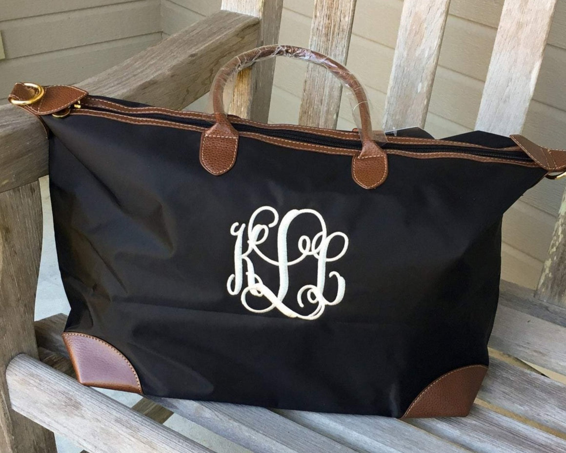 Monogrammable Nylon Fabric Oversize Tote/Duffle Bag