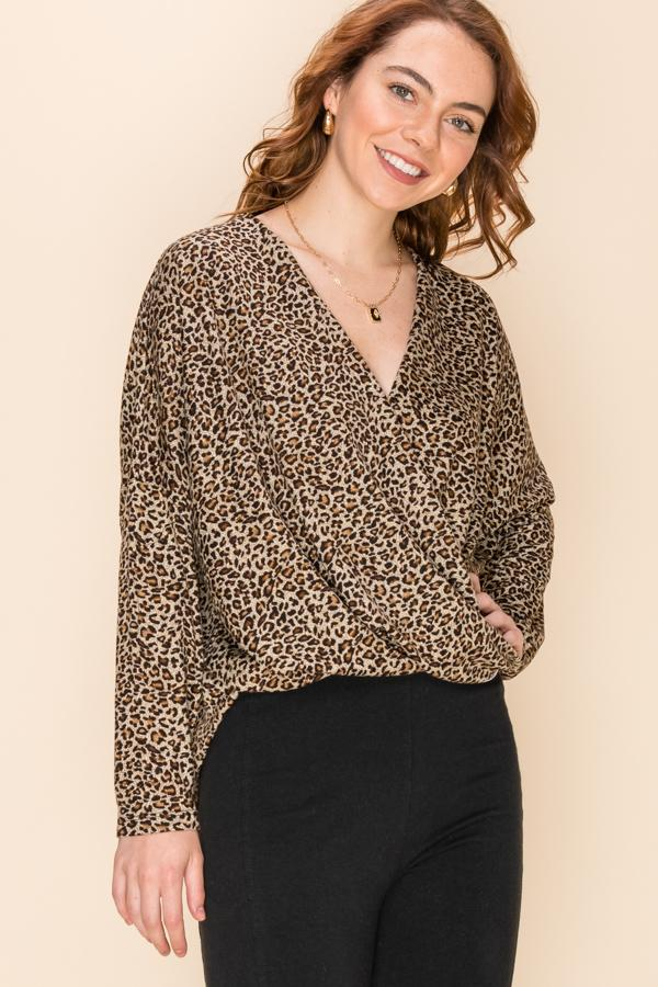 Leopard Crossover Blouse