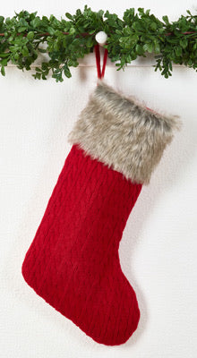 Knit and Faux Fur Christmas Stocking