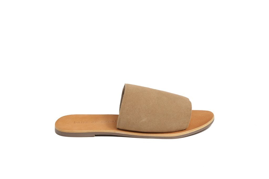 Tan brushed suede slides for summer and they are great for a transition shoe to fall,