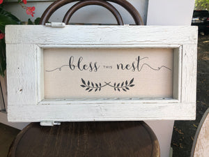 "Old Farmhouse Frame with ""Bless This Nest"" sentiment"