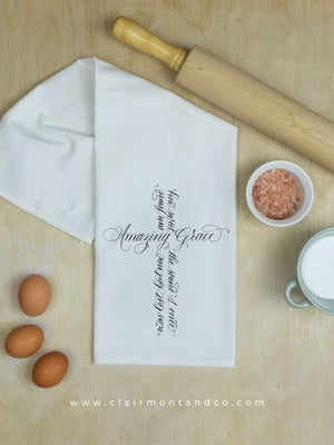 Cotton Flour Sack Towel with Amazing Grace Cross Artwork